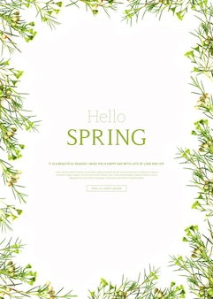 Hello spring, beautiful vertical card template with flowers