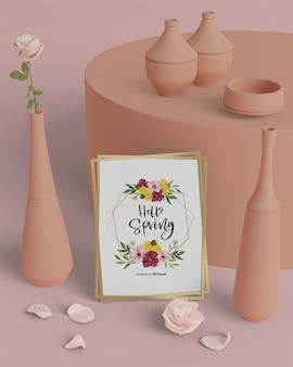こんにちは、3 dの装飾が施された春カード