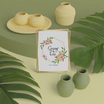 Hello spring card with 3d vases