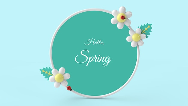 Hello spring frame. 3d rendering.