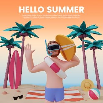 안녕하세요 여름 배너 템플릿 3d 사람 캐릭터 프리미엄 psd