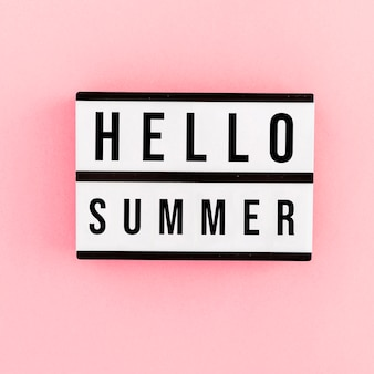Hello summer card mockup on pink background