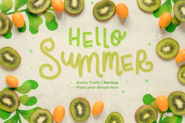 Hello summer concept with exotic fruits