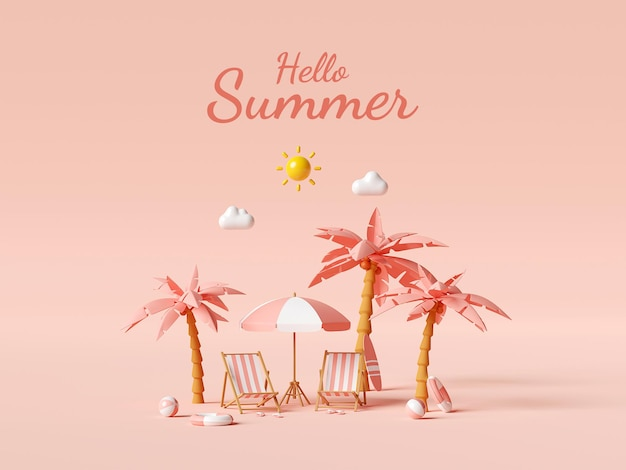 Привет, лето дизайн шаблона