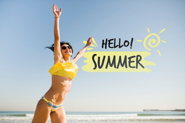 Hello summer  jumping girl mockup