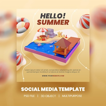 Привет летняя распродажа шаблон сообщения instagram