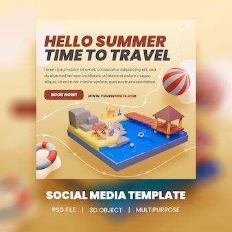 Привет, летнее время путешествовать, распродажа, шаблон сообщения instagram