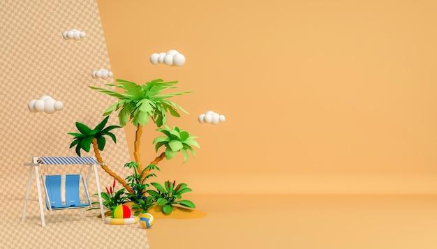 Привет, лето, тропические деревья с качающимися облаками в мультяшном стиле