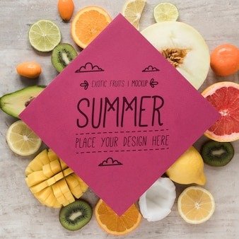 Hello summer with collection of exotic fruits