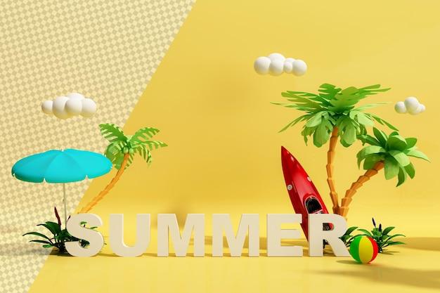 Привет лето с красочными забавными предметами в 3d-рендеринге