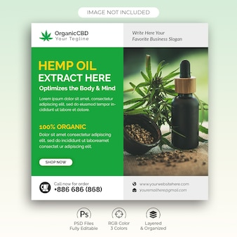 Hemp product cbd oil marketing social media post template