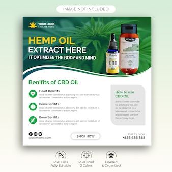 Hemp product cbd oil social media post template