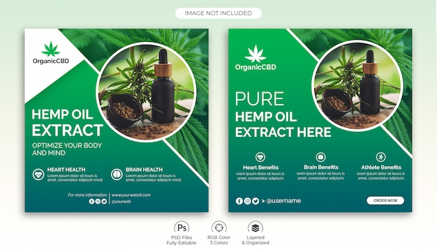 Hemp products banners template