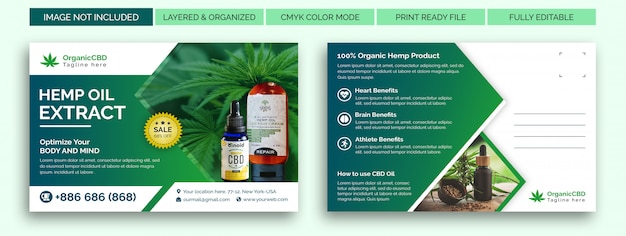 Hemp products postcard template