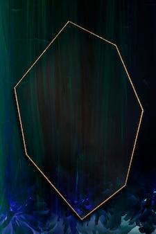 Heptagon gold frame on abstract background illustration