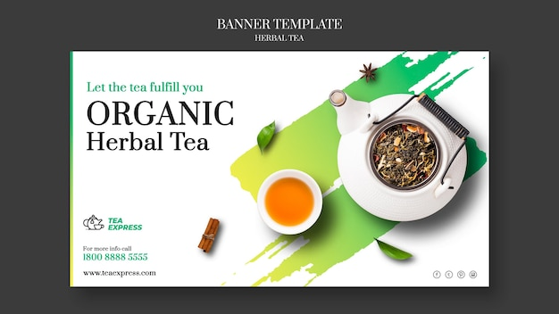 Herbal tea banner template