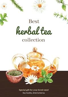 Плакат с коллекцией травяного чая