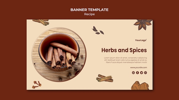Herbs and spices banner template