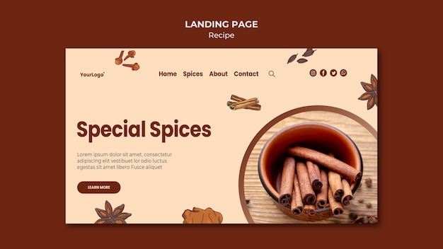 Herbs and spices landing page template