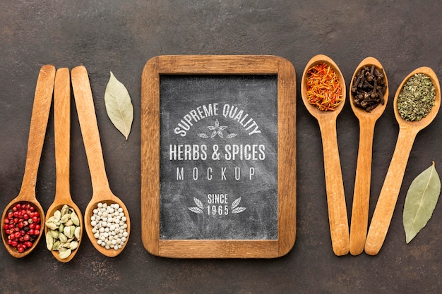 Herbs and spices mock-up flat lay