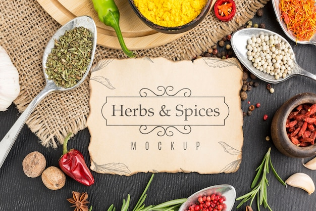 Herbs and spices mock-up top view