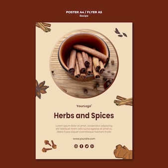 Herbs and spices poster template
