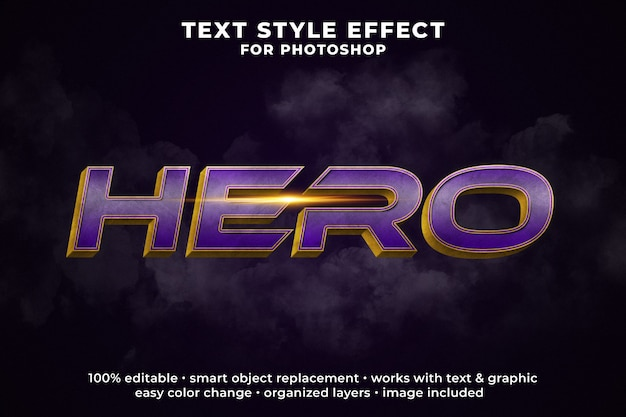 Hero 3d text style effect psd template