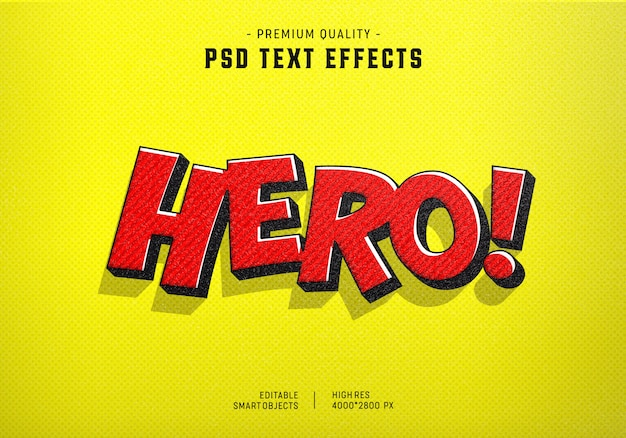 Hero comic text style effect