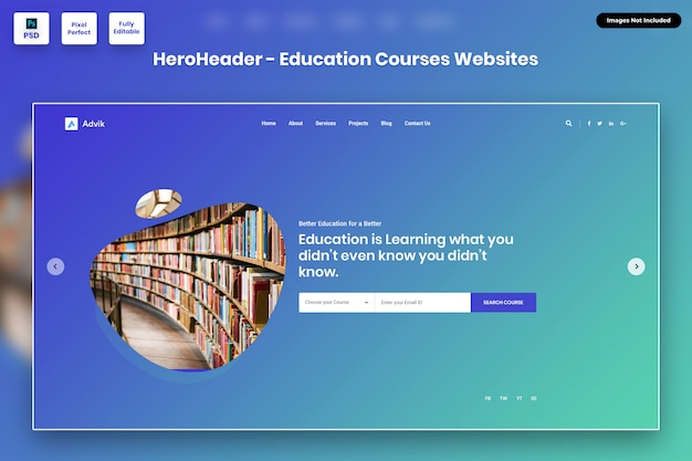 Hero header for education courses websites
