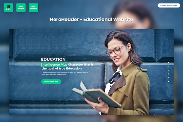 Hero header for educational websites