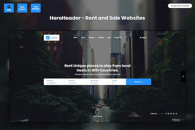 임대 및 판매 웹 사이트의 영웅 헤더
