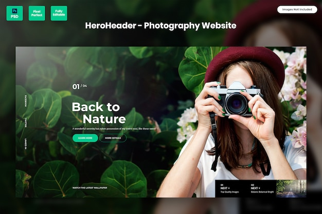 Hero header for photography websites