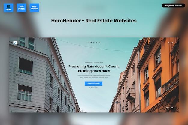 Hero header for real estate websites