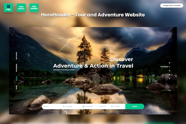 Hero header for tour and adventure websites