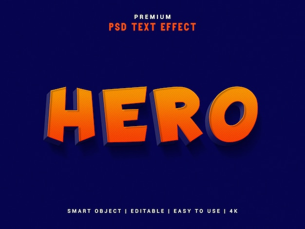 Hero psd text effect, 3d реалистичный шаблон, стиль текста.