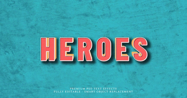 Heroes 3d text style effect psd