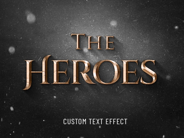 The heroes cinematic 3d text effect