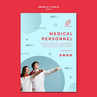 Heroic medical personnel poster template