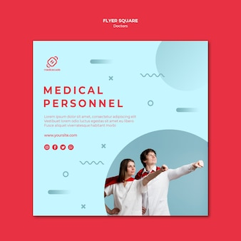 Heroic medical personnel square flyer template