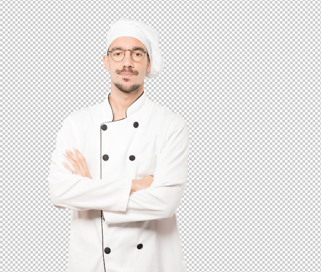 Hesitant young chef looking gesture