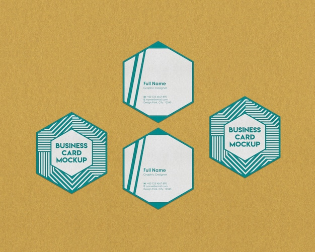 Hexagon business card mock-up