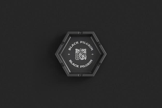 Шестиугольная керамическая пепельница, вид сверху, макет