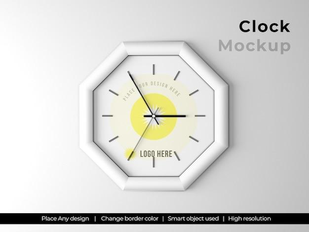 Макет логотипа часов шестиугольника