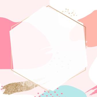 Cornice dorata esagonale psd in stile memphis rosa pastello
