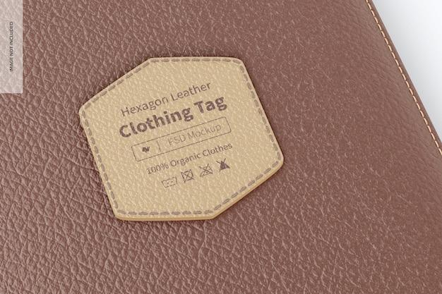 六角形の革の服のタグのモックアップ、クローズアップ
