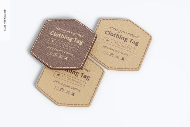 Mockup di etichette per abbigliamento in pelle esagonale, vista dall'alto