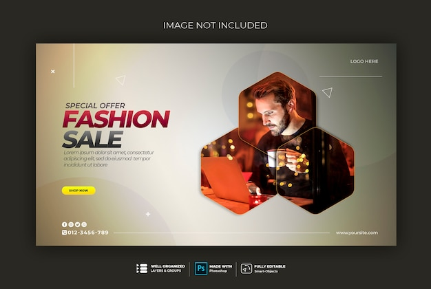 Hexagon modern web banner template sweatshirt