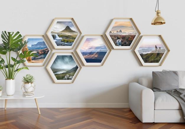 Hexagon photo frames hanging on interior wall mockup
