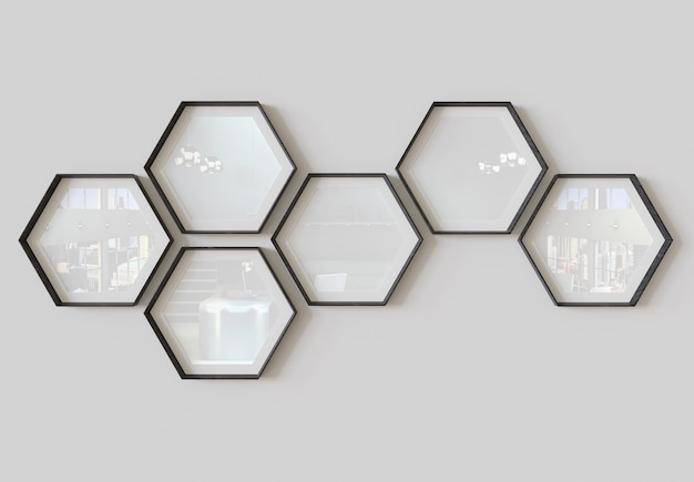 Hexagon photo frames hanging on wall mockup