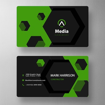Hexagon shape business card template